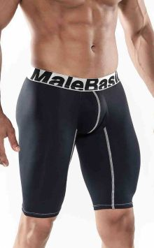 Side View Mens Base Layer Performance Sport 9 Inches Boxer Brief Black MALEBASICS