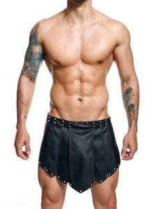 Black Steel Faux Leather Roman Skirt Black