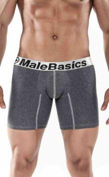 Mens Cotton Lycra Atlethic Boxer Brief Asphalt MALEBASICS