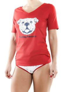 Women´s V-Neck T-Shirt Red SoCal Bulldog
